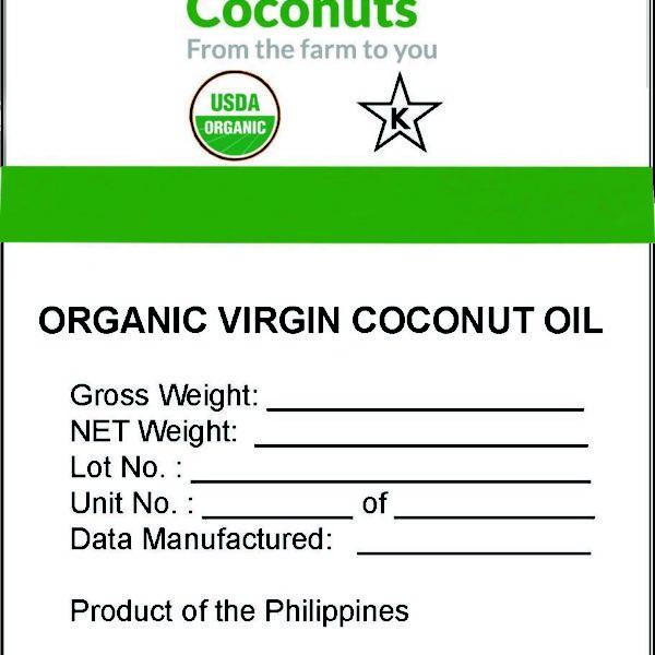 Organic Virgin Coconut Oil Bulk Label