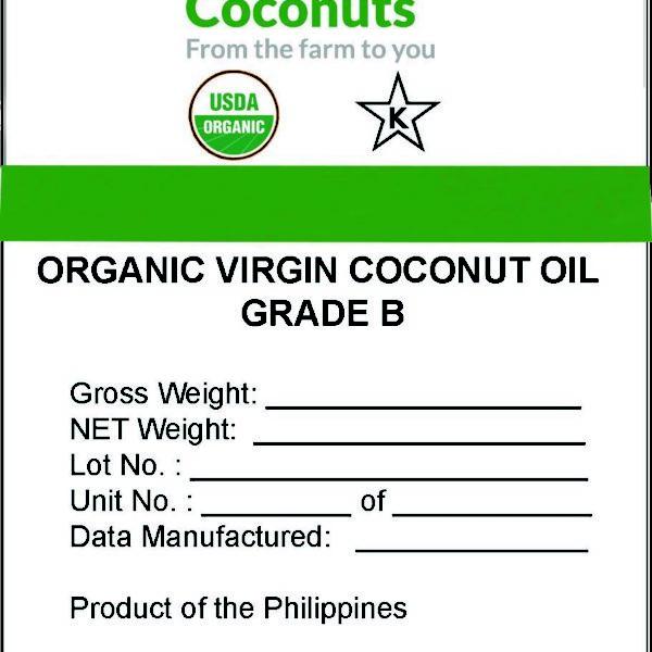 Organic Virgin Coconut Oil GRADE B Bulk Label